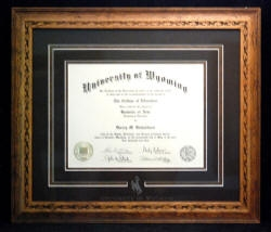 UW diploma frame(Wyoming made, gifts,special occasions)