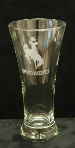 wyo etched beer glass(etched glassware, Wyo made, gifts)