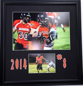 Football collage with cut outs (Gifts, sports, custom framing)